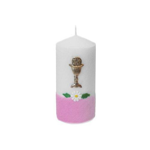 Świeczka komunijna klubowa Margerytka różowa - 1 szt.