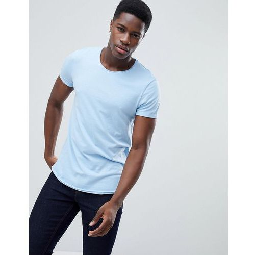 Esprit Longline T-Shirt with Raw Curved Hem In Blue - Blue, kolor niebieski