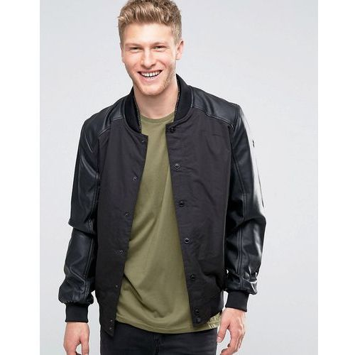Brave Soul Faux Leather Bomber Jacket with Ribbed Collar - Black ()