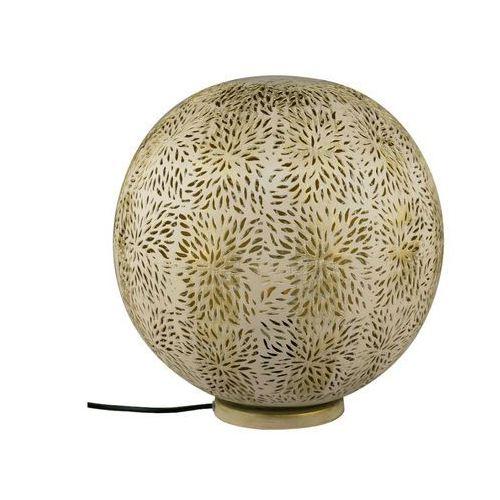 Lampa stojąca TUVAS w kształcie kuli, styl etniczny – żelazo – średnica 30 cm – kolor złoty