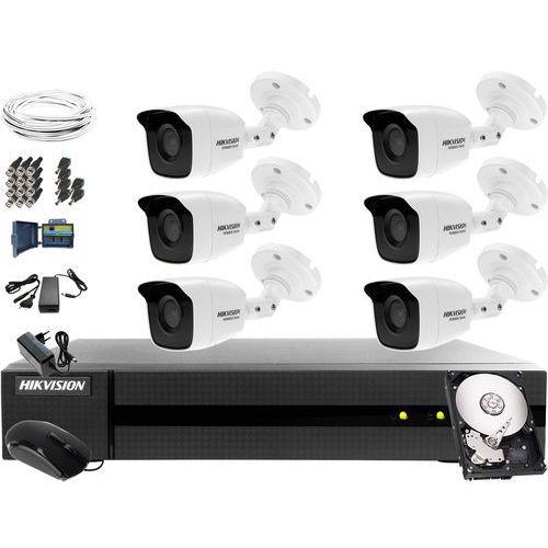Kompletny zestaw do monitoringu firmy, parkingu Hikvision Hiwatch Turbo HD, AHD, CVI HWD-6108MH-G2, 6 x HWT-B140-M, 1TB, Akcesoria, ZM10778