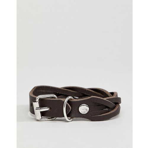 ASOS DESIGN Leather Plaited Bracelet With Buckle Fastening - Brown