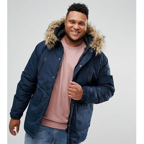D-struct plus faux fur trimmed parka jacket - navy