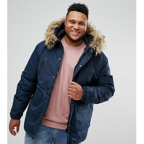 plus faux fur trimmed parka jacket - navy marki D-struct