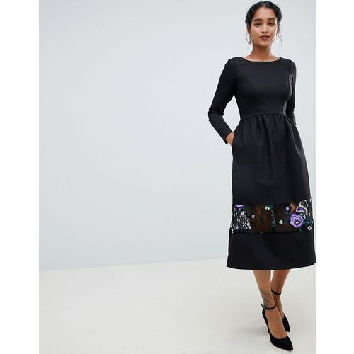 f086644a7c long sleeve midi dress with embrodiered detail - multi