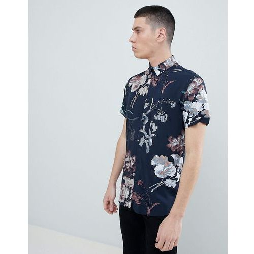 Selected Homme Short Sleeve Viscose Shirt With All Over Print - Navy, kolor szary