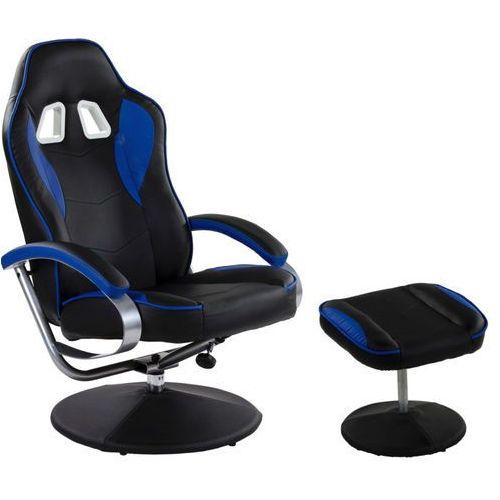 Makstor.pl Czarno niebieski fotel wypoczynkowy obrotowy dla gracza przed tv - czarno - niebieski