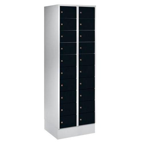 Szafa z małymi schowkami, 20 półek, wys. x szer. 1850x600 mm, kolor drzwi: czarn
