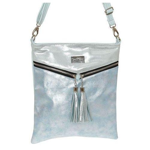 ee31472669624 Srebrno-błękitna miękka torebka listonoszka - niebieski