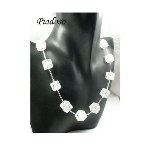 Piękne naturalny kamień lodowy srebrny naszyjnik, marki Arande
