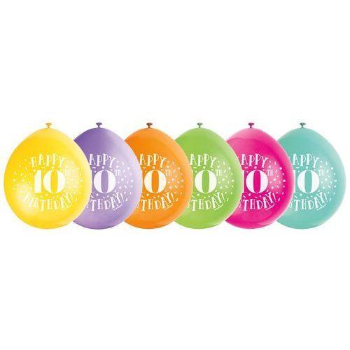 Balony pastelowe z nadrukiem Happy 10th Birthday - 23 cm - 10 szt