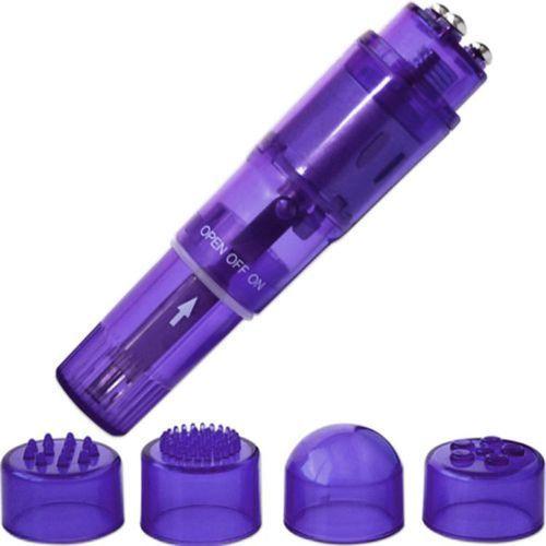 Kieszonkowy masażer 4 końcówki fioletowy | 100% dyskrecji | bezpieczne zakupy marki Shibari