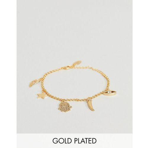 Orelia gold plated spiritual charm bracelet - gold
