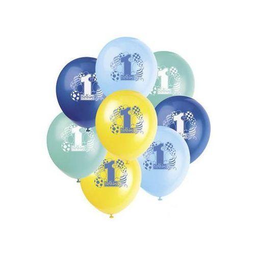 Balony pastelowe na roczek 1st birthday baloniki blue - 31 cm - 8 szt. marki Unique