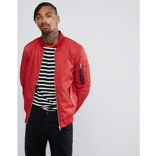 Bershka lightweight ma1 bomber in red - red