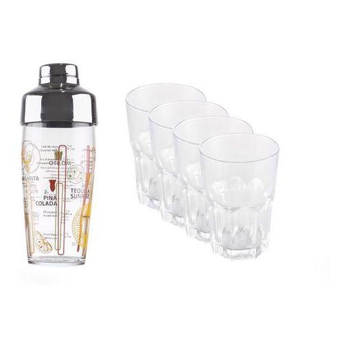 LUMINARC Komplet do drinków. 4 szklanki 400 ml plus shaker