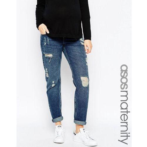 ASOS Maternity Brady Boyfriend Jeans With Under The Bump Waistband - Blue