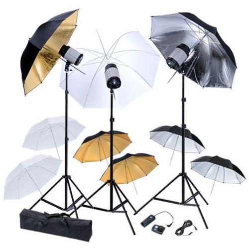 vidaXL Zestaw studio: 3 lampy, 9 parasolek i statywy