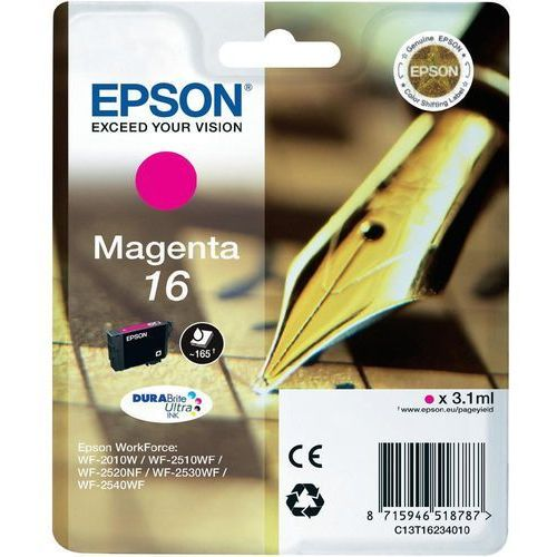 EPSON 16 ink cartridge magenta standard capacity 3.1ml 165 pages 1-pack blister without alarm