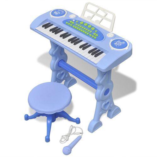 zabawkowy keyboard ze stolikiem i mikrofonem, niebieski marki Vidaxl