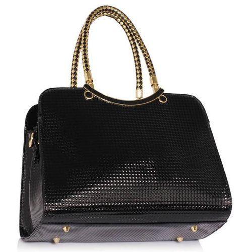 OKAZJA - Wielka brytania Szykowna torebka damska lakierowana czarna - czarny