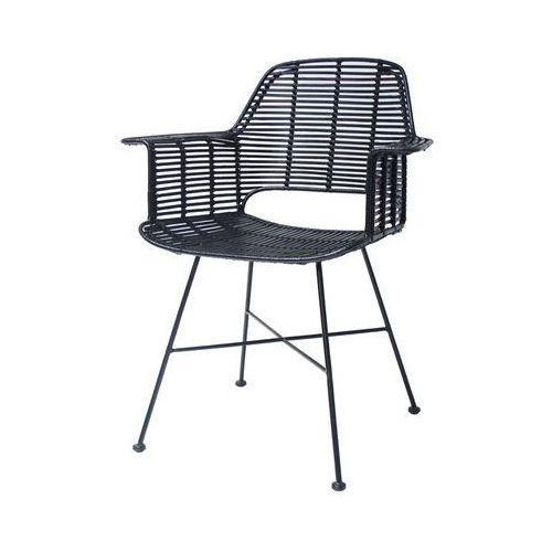 krzesło rattanowe ze stelażem czarne rat0041 marki Hk living