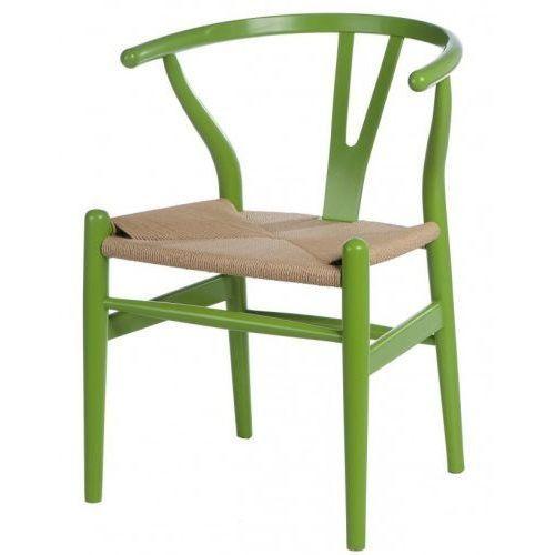 Krzesło wicker color inspirowane wishbone - zielony marki Producent: elior
