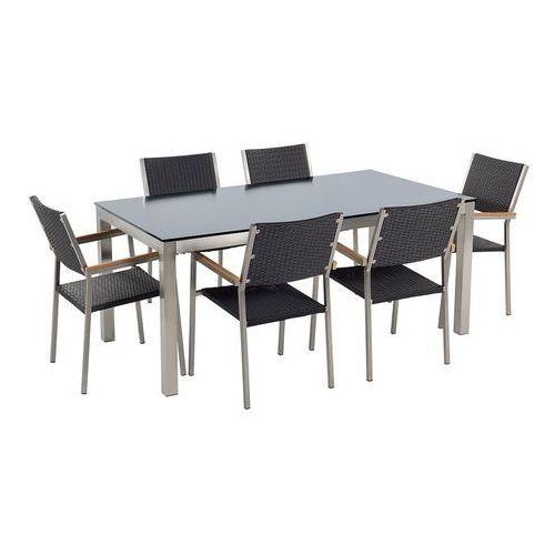 Beliani Stół szklany czarny - 180 cm - z 6 rattanowymi krzesłami - grosseto (7105276645801)