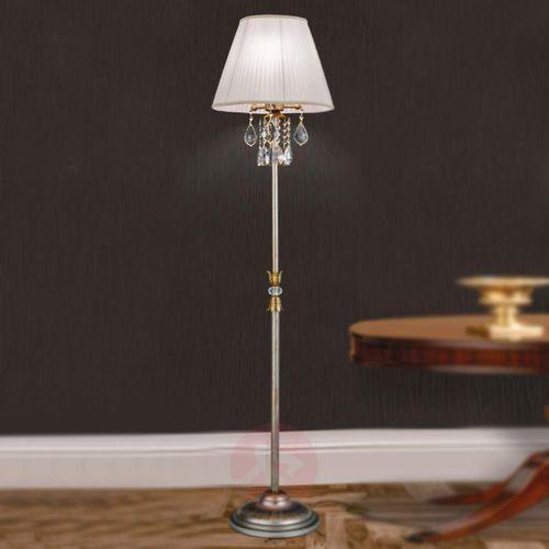 Materiałowa lampa stojąca MIRAMARE z kryształami