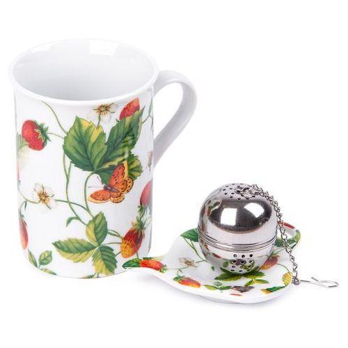 Komplet kubka 250 ml, sitka do herbaty i podstawki poziomka marki 4home