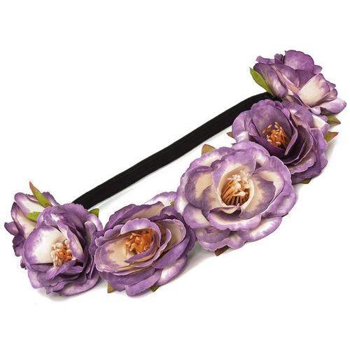 Opaska kwiaty duże na gumce ametyst - ametyst marki Iloko
