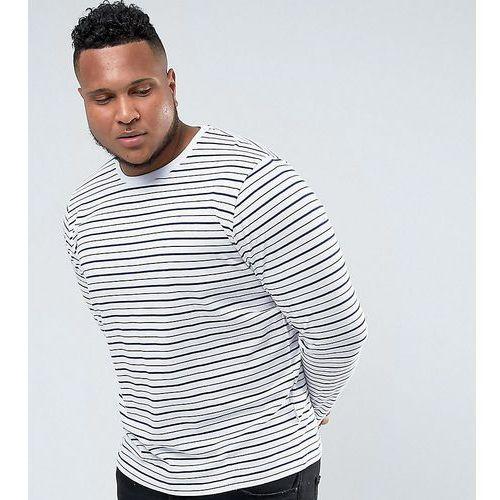 Bellfield PLUS Long Sleeve T-Shirt In Stripe - White, kolor biały