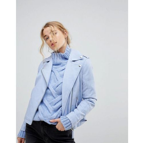 leather look biker jacket - blue marki Miss selfridge