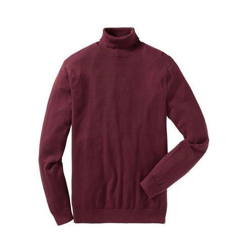Sweter z golfem regular fit czerwony klonowy marki Bonprix