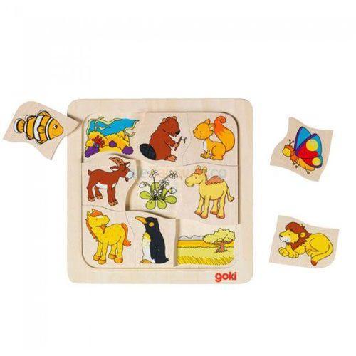 Drewniane puzzle Gdzie mieszkają zwierzątka? GOKI-56725, GOKI-56725