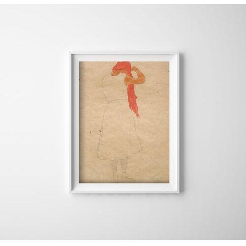 Plakat w stylu retro Plakat w stylu retro Stojąc podczas czesania Egon Schiele