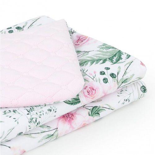 Mamo-tato Kocyk zimowy dla niemowląt i dzieci velvet pikowany dwustronny 75x100 - różany ogród/ jasny róż