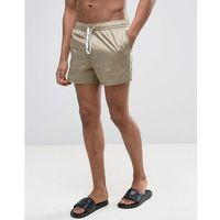 swim shorts in ripstop nylon in stone with drawcord detail in short length - beige marki Asos