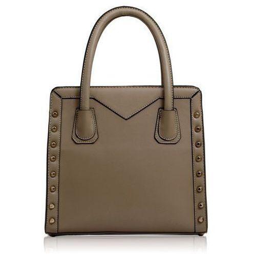 Gładka beżowa torebka damska ze złotymi ćwiekami - beżowy marki Wielka brytania