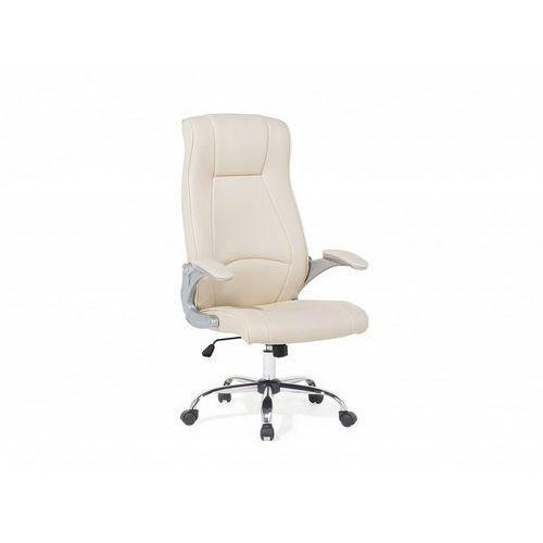 Krzesło biurowe beżowe - meble biurowe - fotel komputerowy - commander marki Beliani