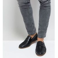 Silver Street Wide Fit Woven Loafers In Black Leather - Black