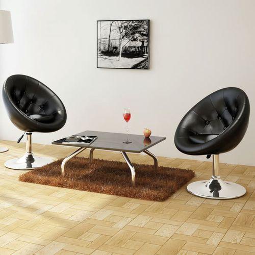 Krzesła klubowe, 2 szt., skóra syntetyczna, czarne, kolor czarny