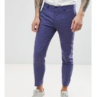Noak skinny cropped smart trouser in linen - Navy