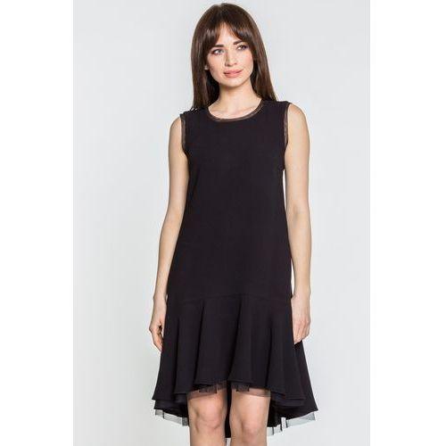 186057d051 Czarna sukienka z brzegiem obszytym siat.