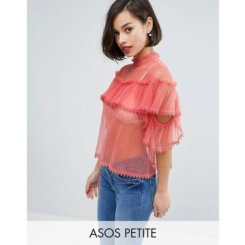 mesh dobby top with cold shoulder and ruffle - pink marki Asos petite