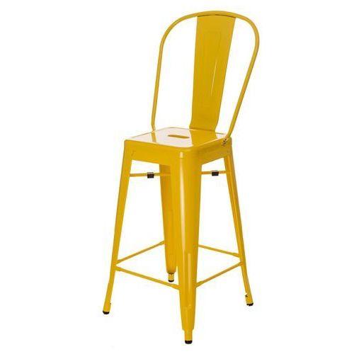 Stołek barowy Paris Back inspirowany Tolix - żółty