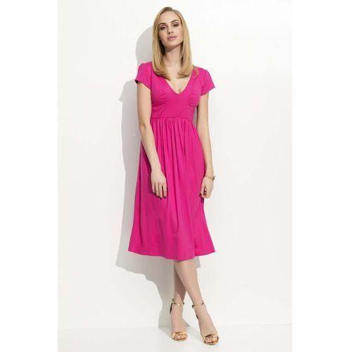 Fuksja sukienka midi z marszczeniami marki Makadamia