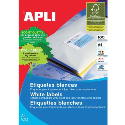 Etykiety uniwersalne APLI, 99,1x67,7mm, zaokrąglone, białe 100 ark.
