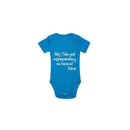 Body dziecięce Mój Tata jest najwspanialszy + imię dziecka, kolor niebieski