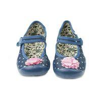 Befado BALERINY dziecięce DZIEWCZĘCE - niebieskie z kwiatkiem, bawełniane, oddychające, kolor niebieski
